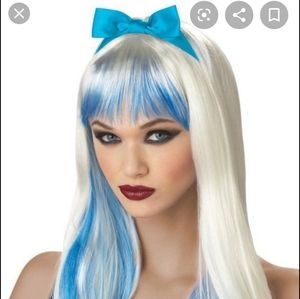 Blonde and blue wig